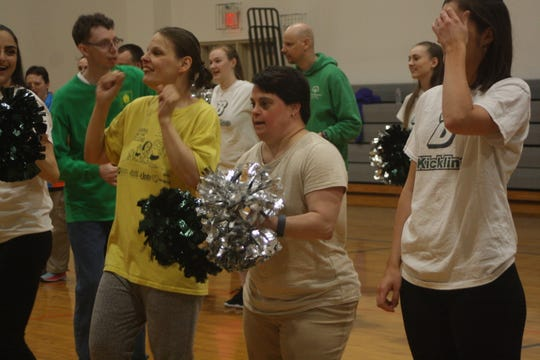 Apalachin resident Linda Avason, 41 (center) participates in a lesson led by the Binghamton University kickline during a practice on April 29.