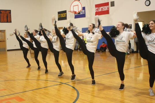 The Binghamton University Kickline performed at the Special Olympics Vestal team's practice on April 29 in honor of the retirement of Head Coach Jenny Sorber.
