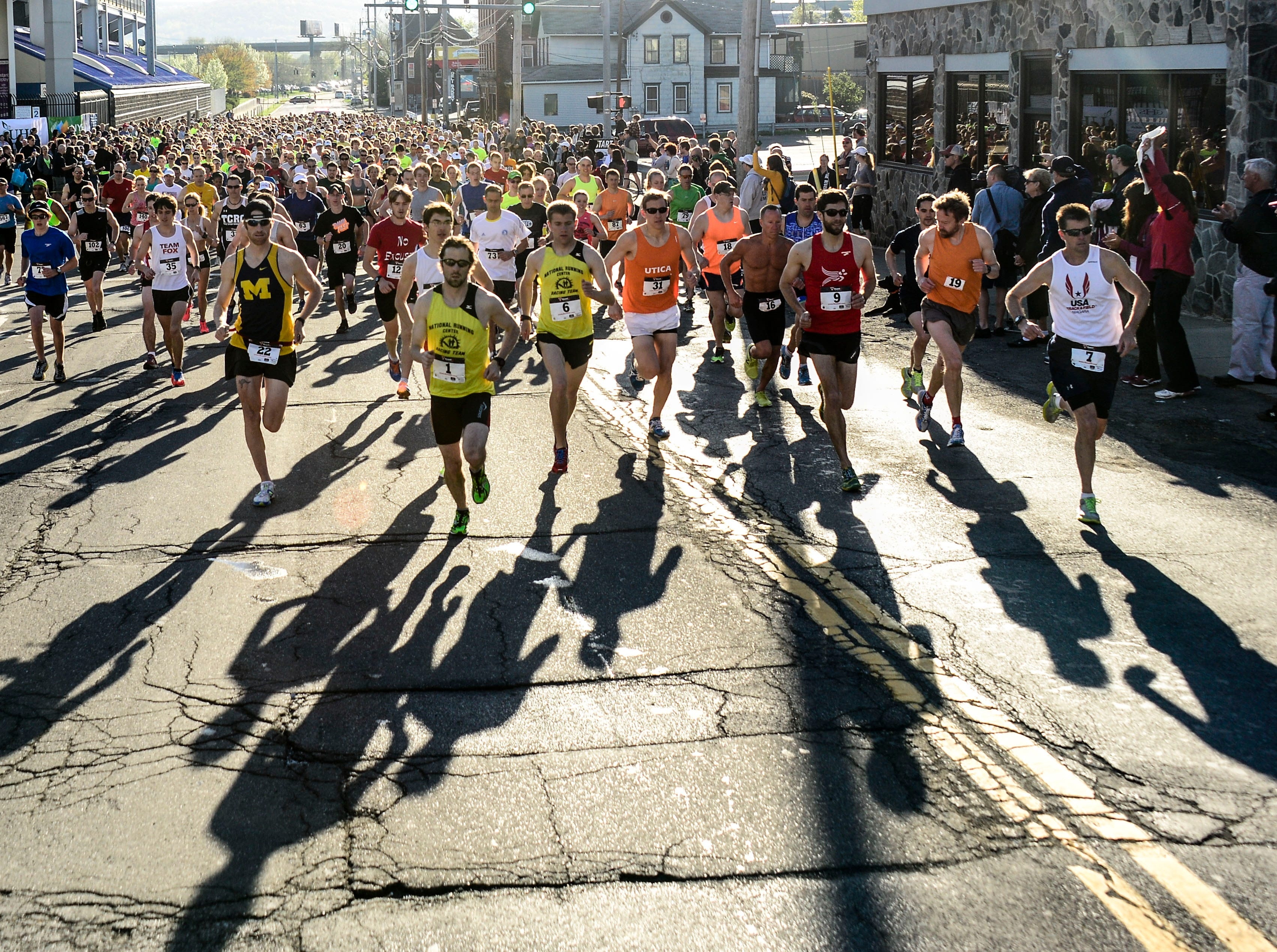 2013: Runners start on the 13.1 mile Greater Binghamton Bridge Run on a warm Sunday morning in the Southern Tier.