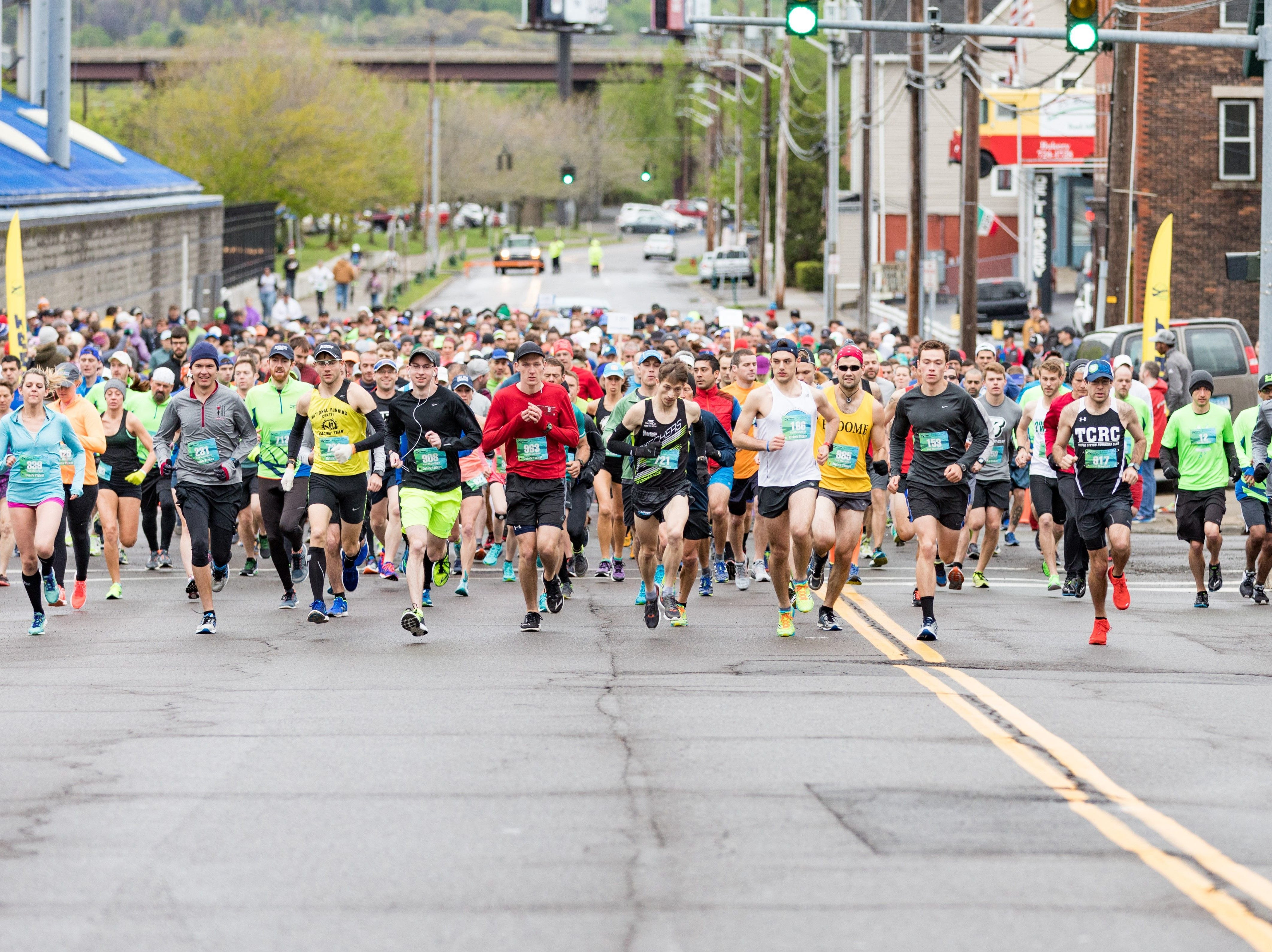 2017: Runners get off the starting line quick during the Binghamton Bridge Run on Sunday, May 7.