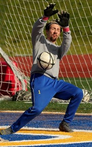 Bremerton goalie Zachary Storey makes a save during practice at Bremerton Memorial Stadium on Tuesday, April 30, 2019.during practice at Bremerton Memorial Stadium on Tuesday, April 30, 2019.