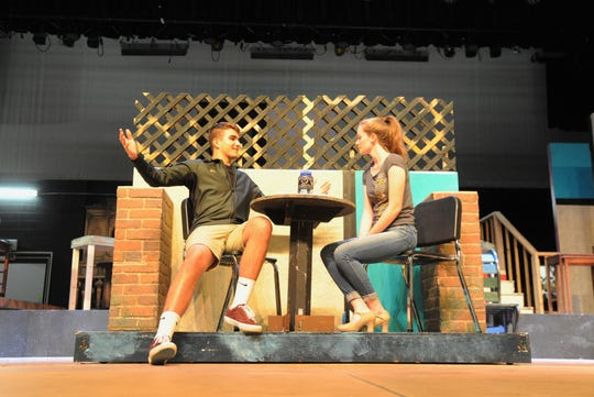 "Gabriel Coll-Bettencourt and Josie Davis rehearse their roles as Georg Nowack and Amalia Balash in the musical ""She Loves Me"" on April 30."
