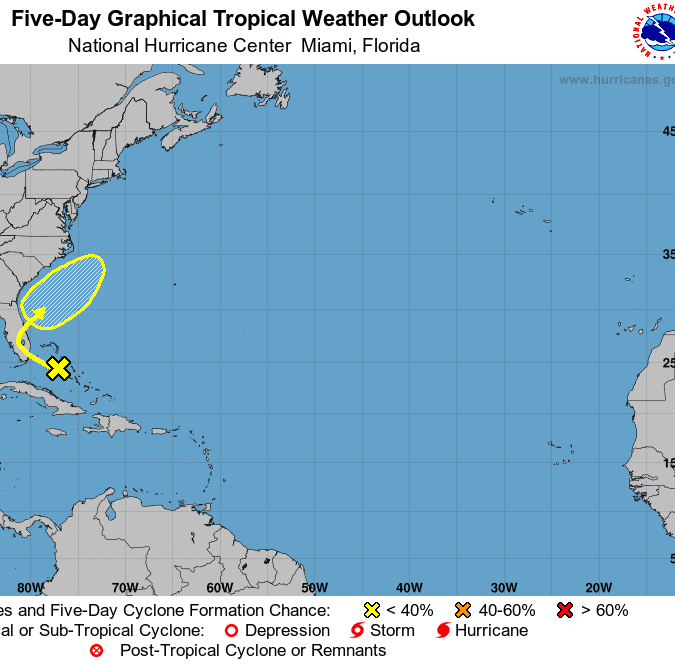 So soon? Low pressure system over Bahamas has slight chance of development