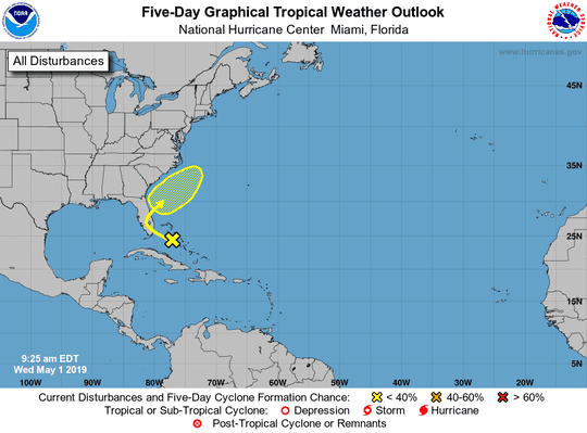 A graphic issued by the National Hurricane Center at 9:25 a.m. Wednesday shows the position and forecast track of a low pressure system over the northwestern Bahamas