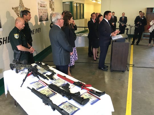 Governor Ron DeSantis speaks at a press conference during which Sheriff Wayne Ivey gave details on a major drug bust in Brevard County.