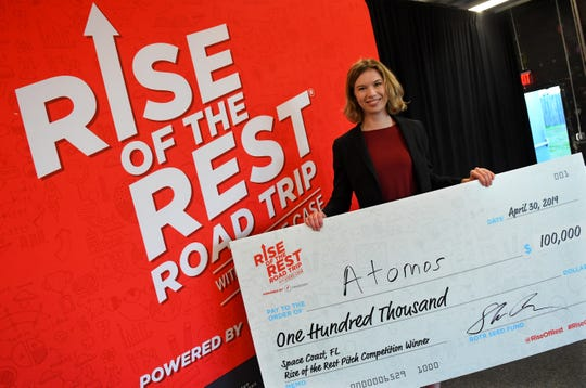 Atomos Nuclear and Space Chief Executive Officer Vanessa Clark won the Rise of the Rest $100,000 pitch competition Tuesday at Groundswell Startups in Melbourne.