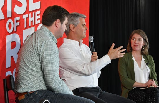 AOL co-founder Steve Case delivers a Rise of the Rest fireside cat with (left) J.D. Vance, managing partner, and moderator Kim Hart, managing editor of Axios, at Groundswell Startups in Melbourne.