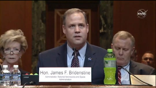 NASA Administrator Jim Bridenstine testified on Wednesday, May 1, before U.S. Senate appropriators on the space agency's proposed 2020 budget. NASA is revising its initial $21 billion request to reflect the Trump administration's new goal to land astronauts on the moon in 2024.