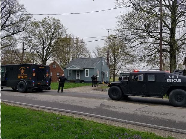 The Crawford County Special Response Team and METRICH searched a home  at 6820 Leesville Road in Crestline on Tuesday.