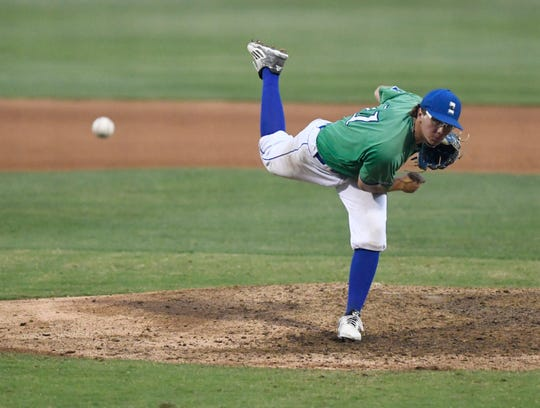 Texas A&M-Corpus Christi's Zach Rumfield pitches during the Texas, Tuesday, April 30, 2019, at Whataburger Field.