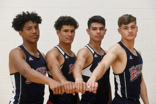 From left to right: Veterans Memorial's Joseph Meador, Joey Perez, Ryan Perez and Jace Cano pose with a baton, Wedesnday, May 1, 2019. The team is going to the upcoming state meet in Austin for 800 meter relay.