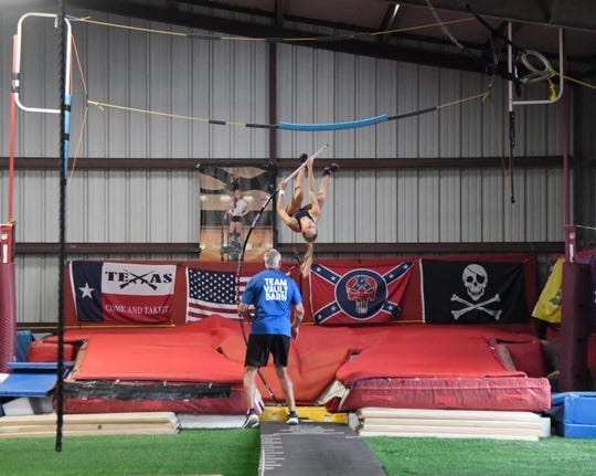 Sky Hall pole vaults,Tuesday, April 30, 2019, in Woodsboro. Hall set a meet record at regionals with a vault of 12-feet, 5-inches, winning the competition.