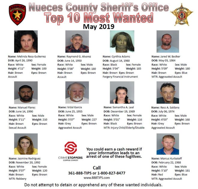 Anyone with information about Nueces County Sheriff's Office Top 10 Most Wanted people should call Crime Stoppers at 361-888-8477.