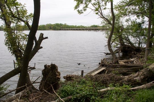 A view of the Petty Island bridge from the Cramer Hill Nature Preserve Wednesday, May 1, 2019 in Camden, N.J.