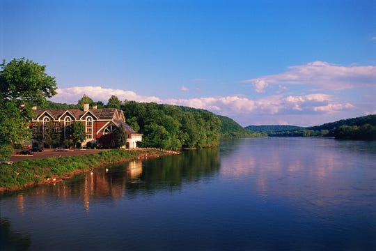 The Inn at Lambertville Station overlooks the Delaware River and f New Hope, Pennsylvania.