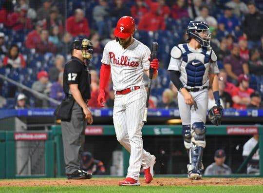 Apr 30, 2019; Philadelphia, PA, USA; Philadelphia Phillies right fielder Bryce Harper (3) reacts after striking out during the eighth inning against the Detroit Tigers at Citizens Bank Park. Mandatory Credit: Eric Hartline-USA TODAY Sports