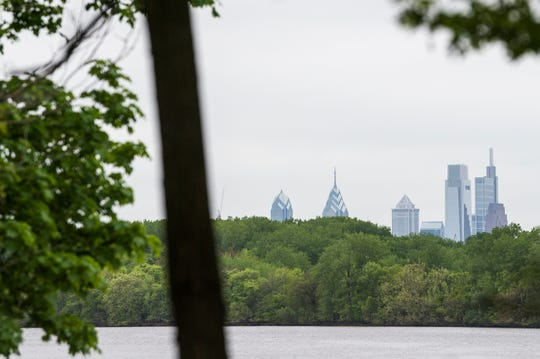 A view of Philadelphia from the Cramer Hill Nature Preserve Wednesday, May 1, 2019 in Camden, N.J.