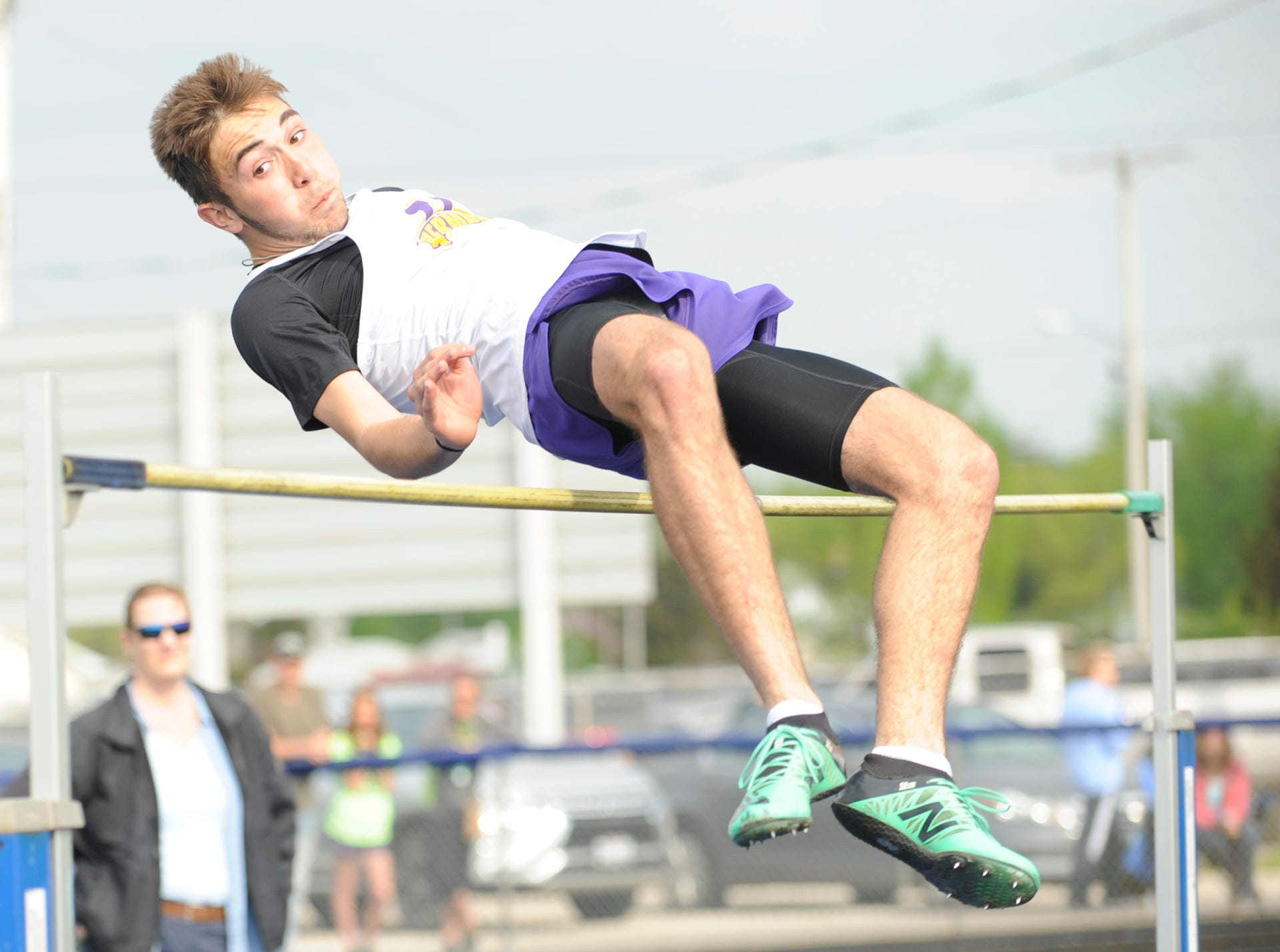 """Unioto junior Cade McKee dominated the high jump with a PR of 6'00"""" Tuesday afternoon at the 95th annual Ross County Meet in Frankfort, Ohio, on April 30, 2019."""