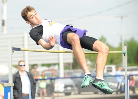 "Unioto junior Cade McKee dominated the high jump with a PR of 6'00"" Tuesday afternoon at the 95th annual Ross County Meet in Frankfort, Ohio, on April 30, 2019."