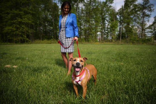 Lisa Rabanus, an attorney and advocate, walks Daisy, Tuesday, April 30, 2019, at All Dogs Come From Heaven Rescue in Amelia, Ohio.