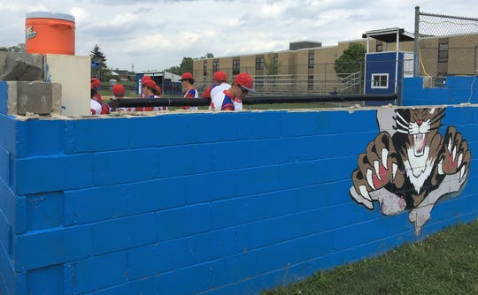 Conner's dugout is still without a roof on May 1, 2019, nearly two months after it was damaged by a severe storm.