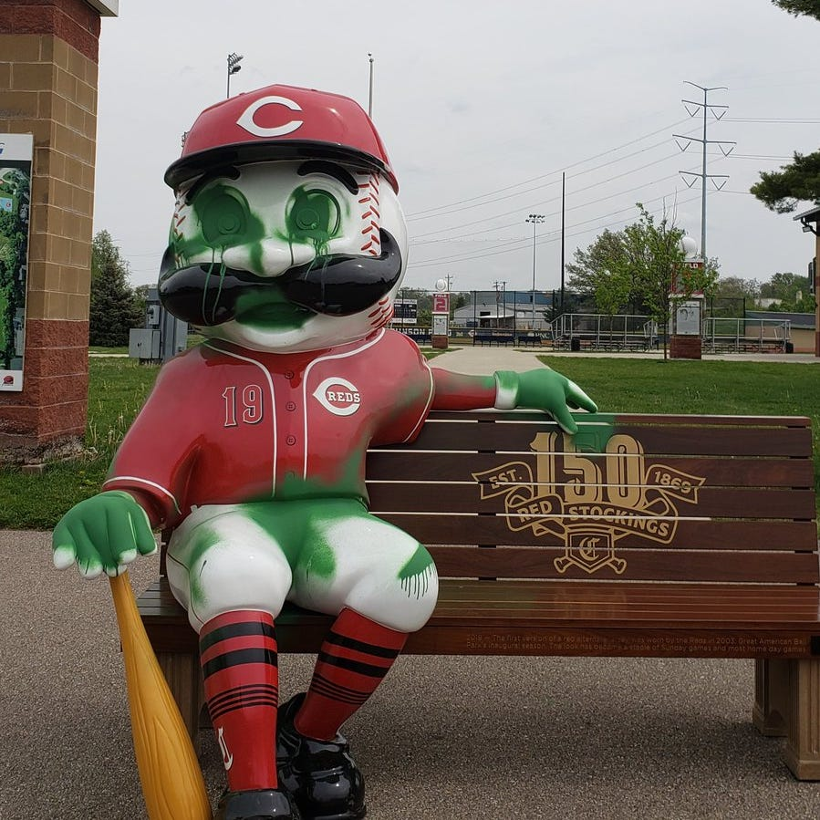 Mr. Redlegs bench, field vandalized at Reds Youth Academy at Roselawn Park
