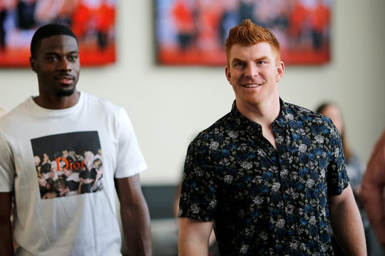 Andy Dalton and A.J. Green arrive during the Legends Past and Present event benefitting the Andy and JJ Dalton Foundation and Ken Anderson Alliance at Paul Brown Stadium in downtown Cincinnati on Tuesday, April 30, 2019.