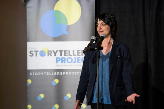 """Enquirer heroin reporter Terry DeMio talks about her beat during the Cincy Storytellers Project """"Recovery Stories"""" Tuesday, April 30, 2019 at the Transept."""