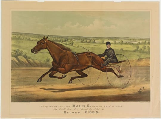 """Maud S, the """"Queen of the Turf,"""" was a record-setting trotting race horse in the 1880s. She trained and quartered at Chester Park in what is now Spring Grove Village."""