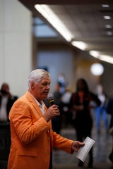 Former Bengals Ken Anderson welcome supporters during the Legends Past and Present event benefitting the Andy and JJ Dalton Foundation and Ken Anderson Alliance at Paul Brown Stadium in downtown Cincinnati on Tuesday, April 30, 2019.
