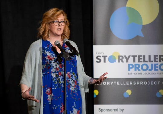 Amy Parker, a community outreach manager, tells the story of her recovery from heroin addiction at the Cincinnati Storytellers Project April 30 at the Transept on Over-the-Rhine.