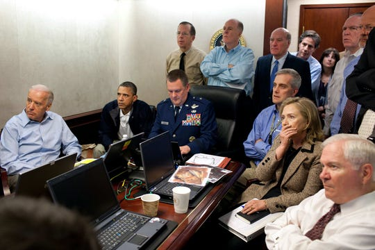 President Barack Obama and key advisers watch from the White House Situation Room as Navy SEALs raid Osama bin Laden's Pakistan compound May 1, 2011 (May 2 in Pakistan).