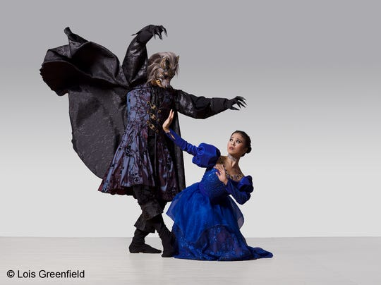 American Repertory Ballet company members Journy Wilkes-Davis as the Beast and Nanako Yamamoto as Belle.