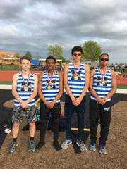The Metuchen 4x200 relay team of Mark Miller, Avi Appell, Matt Brown and Jai Dreher after winning the GMC Relays on April 30.