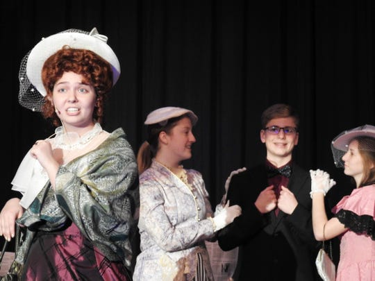 """Sam Corbett portrays the title character in River View High School's presentation of """"Hello, Dolly!"""" at 7:30 p.m. Friday and Saturday. With MaryAnn Lozowski, Luke Allen and Sydney Stewart."""