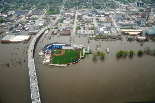 Downtown Davenport is seen from the air as flood waters continue flow into Downtown Davenport on Wednesday, May 1, 2019. A flood wall broke on Tuesday sending water to near record levels with little to no warning.