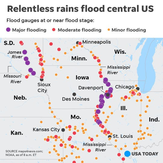 Relentless rain floods central U.S.