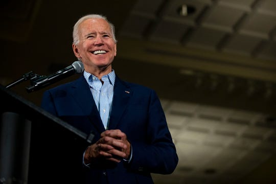 Former Vice President Joe Biden speaks to a crowd of people on Tuesday, April 30, 2019, at the Grand River Conference Center in Dubuque. This is Biden's first trip to Iowa after announcing his run for president.
