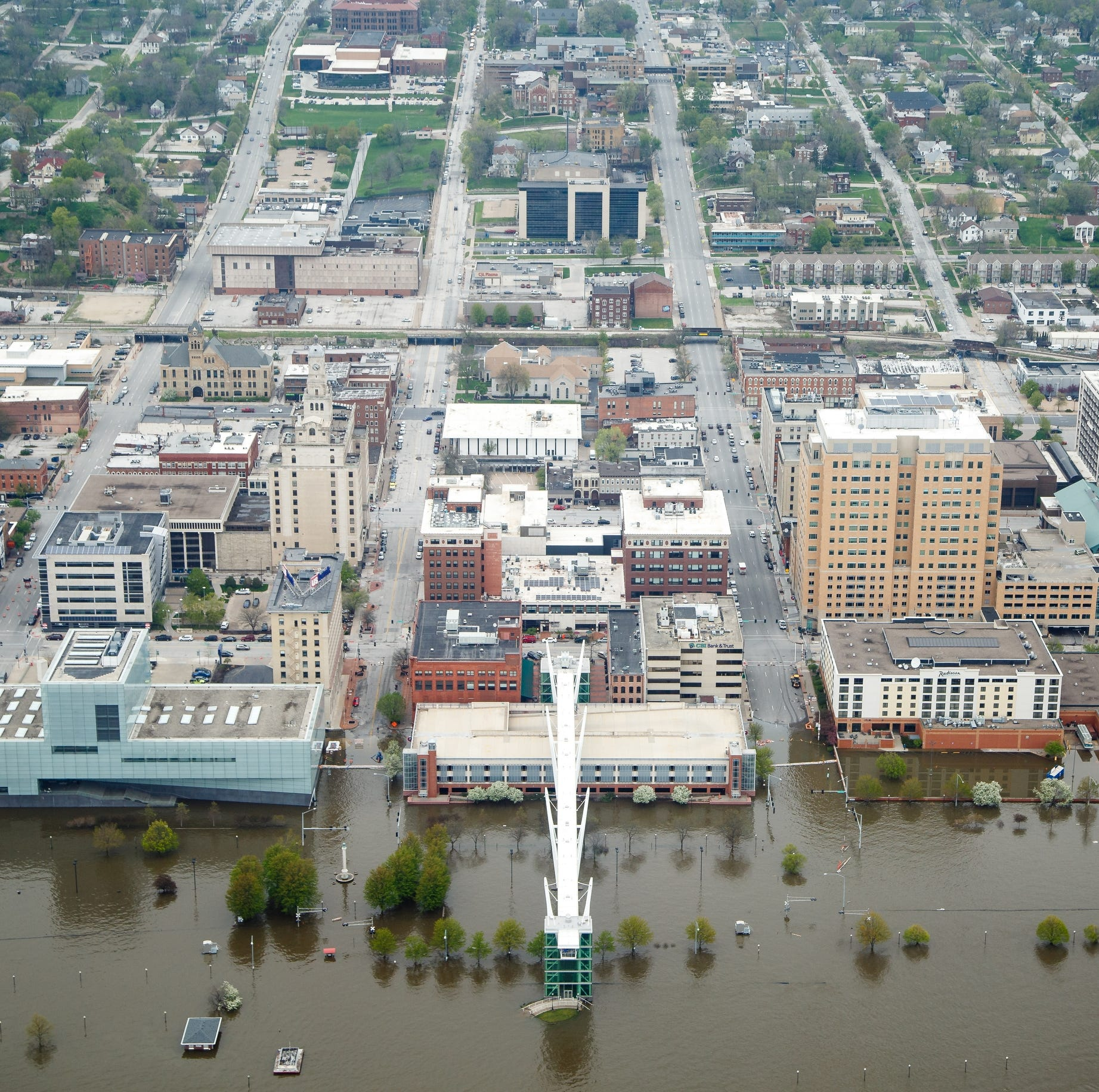 Watch live: Drone footage of flooding over downtown Davenport