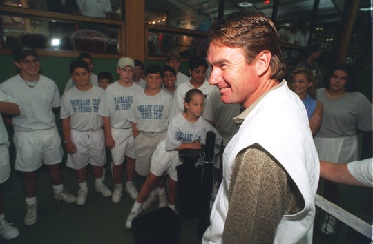 Jimmy Connors promotes the Mentadent Tennis Championship at the Fairlane Club in Dearborn on July 27, 1995.