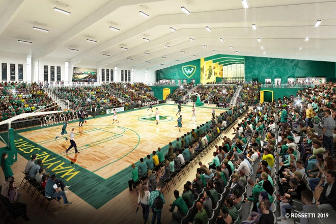 An artist rendering of the new basketball arena at Wayne State University.