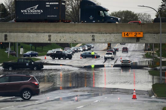 Severe storms on May 1 created heavy flooding on Outer Drive at 94 in Allen Park.