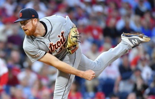 Detroit Tigers relief pitcher Spencer Turnbull (56) throws a pitch during the second inning against the Philadelphia Phillies at Citizens Bank Park on Tuesday, April 30, 2019, in Philadelphia.