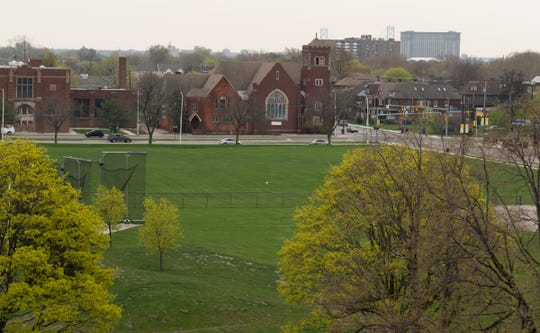 A field at the corner of Warren and Trumbull in Detroit on the Wayne State University campus is seen on Wednesday, May 1, 2019.