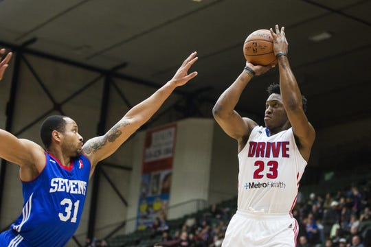 Former Piston Stanley Johnson played with the G-League Grand Rapids Drive in 2016. The team released a statement Wednesday saying it has no interest in relocating to Detroit.