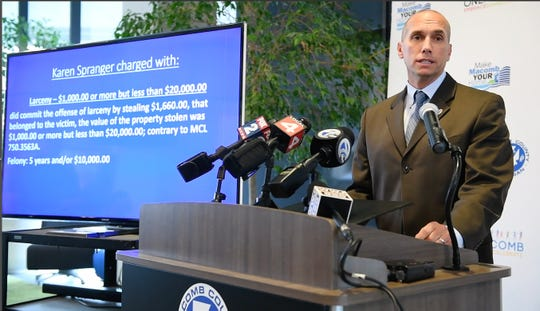 Macomb County Prosecutor Eric Smith holds press conference announcing charges of larceny against Karen Spranger at the Macomb County Administration building in Mount Clemens Wednesday afternoon.