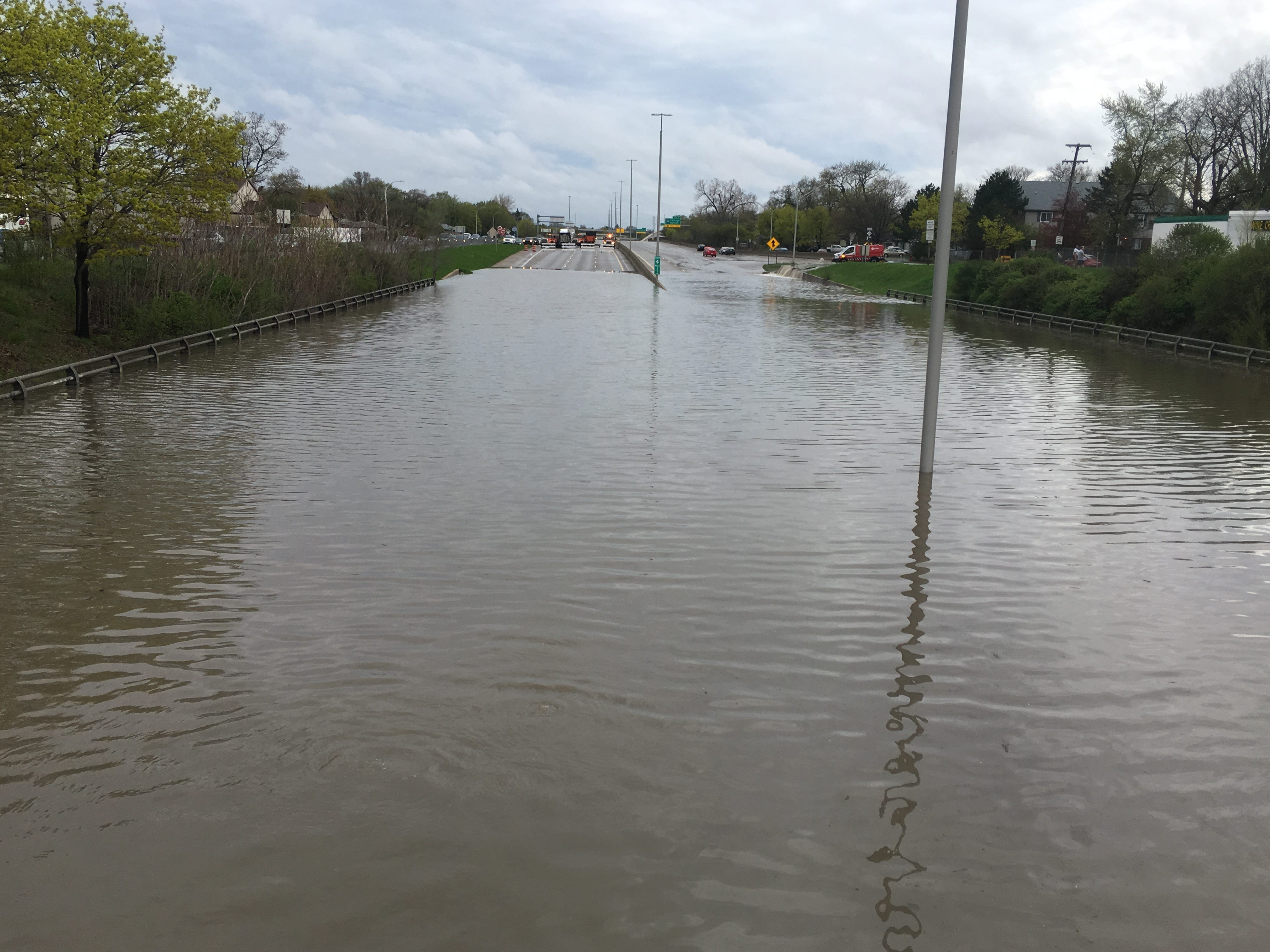 View of the flooded Southfield Freeway at Outer Drive.