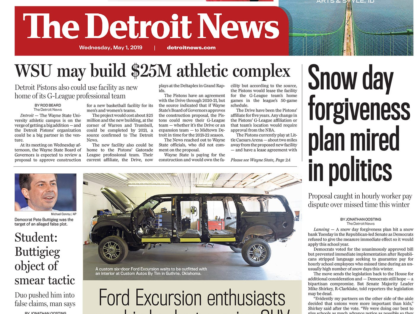 The front page of the Detroit News on Wednesday, May 1, 2019.