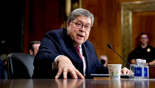 Attorney General William Barr testifies during a Senate Judiciary Committee hearing on Capitol Hill in Washington, Wednesday, May 1, 2019, on the Mueller report.