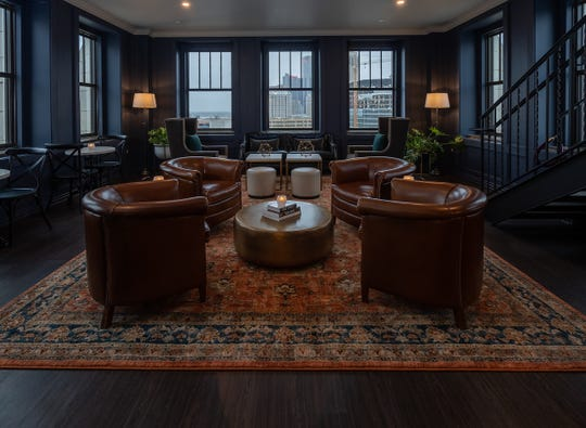 One of the interior lounge areas of the Monarch Club atop the Metropolitan Building, which is aiming for a May 11 opening.
